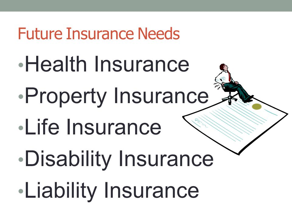 Future Insurance Needs Health Insurance Property Insurance Life Insurance Disability Insurance Liability Insurance