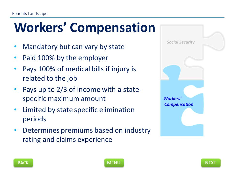 Workers' Compensation Mandatory but can vary by state Paid 100% by the employer Pays 100% of medical bills if injury is related to the job Pays up to 2/3 of income with a state- specific maximum amount Limited by state specific elimination periods Determines premiums based on industry rating and claims experience Benefits Landscape NEXT BACK MENU