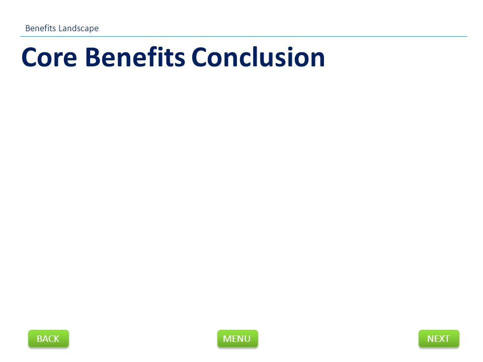 Core Benefits Conclusion Benefits Landscape NEXT BACK MENU
