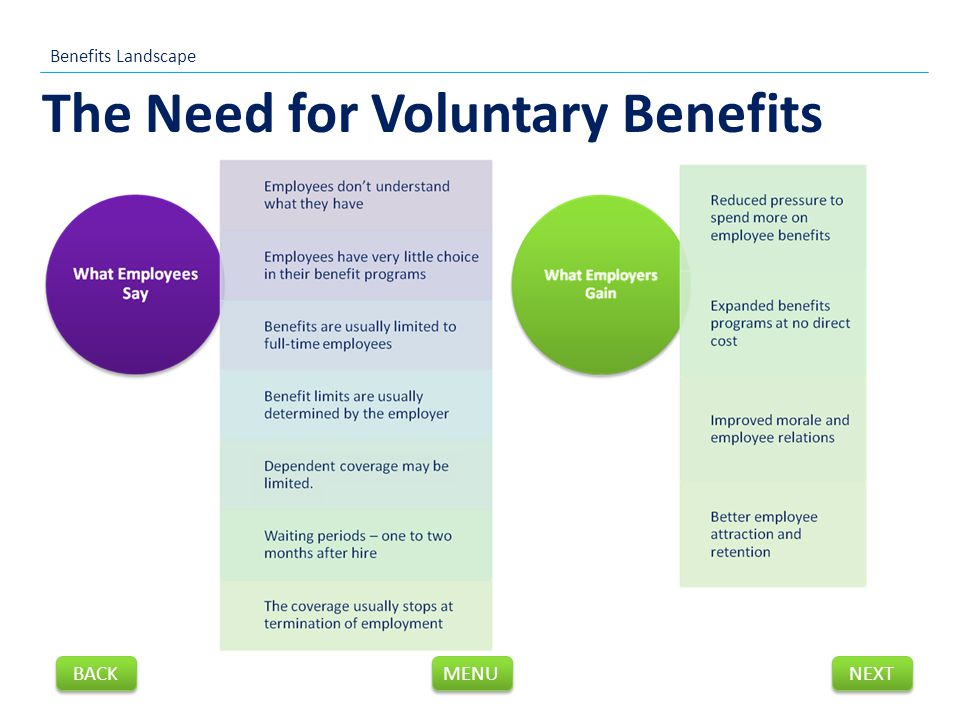 The Need for Voluntary Benefits Benefits Landscape NEXT BACK MENU