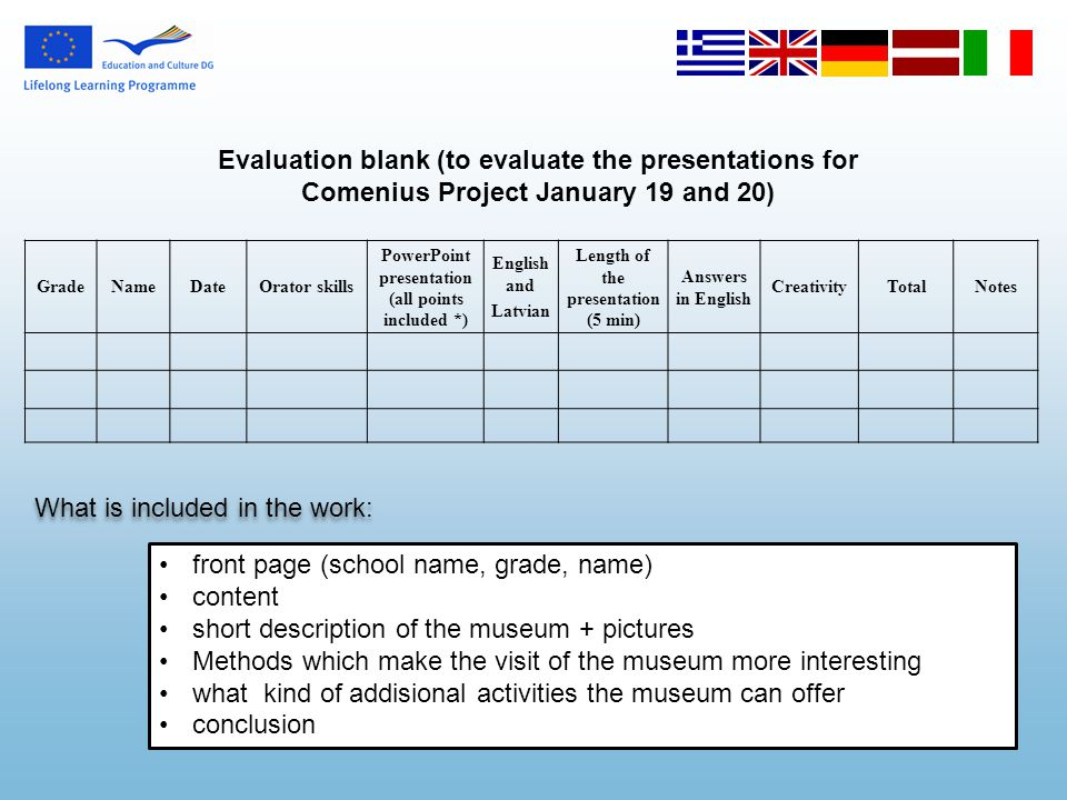 Evaluation blank (to evaluate the presentations for Comenius Project January 19 and 20) GradeNameDateOrator skills PowerPoint presentation (all points