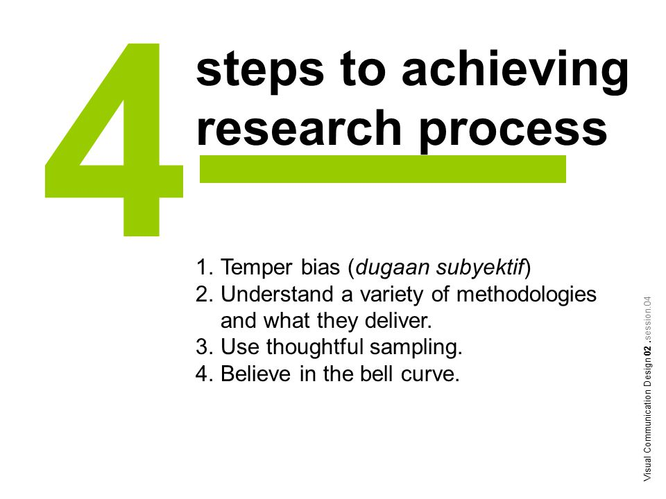steps to achieving research process 4 1.Temper bias (dugaan subyektif) 2.Understand a variety of methodologies and what they deliver.