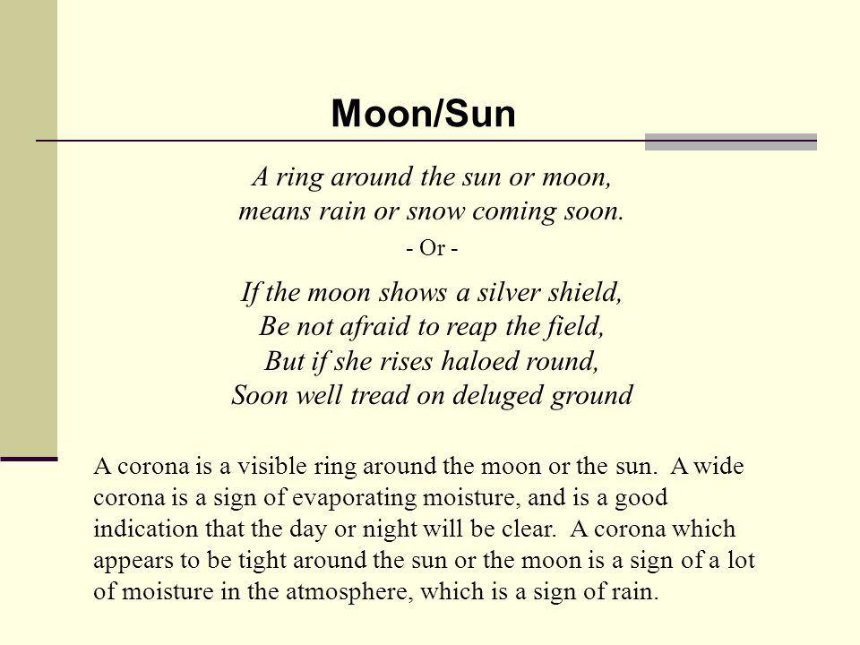 A ring around the sun or moon, means rain or snow coming soon.