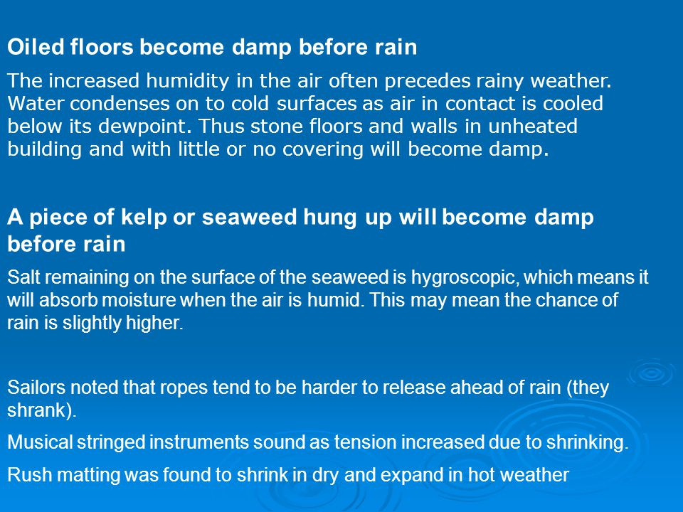 Oiled floors become damp before rain The increased humidity in the air often precedes rainy weather.