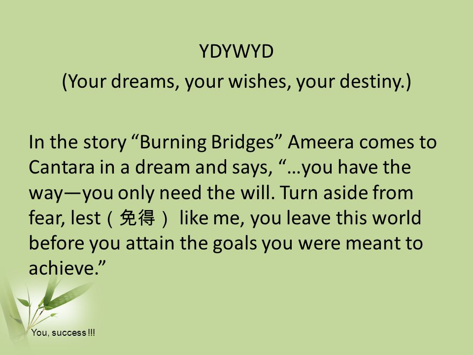 YDYWYD (Your dreams, your wishes, your destiny.) In the story Burning Bridges Ameera comes to Cantara in a dream and says, …you have the way—you only need the will.