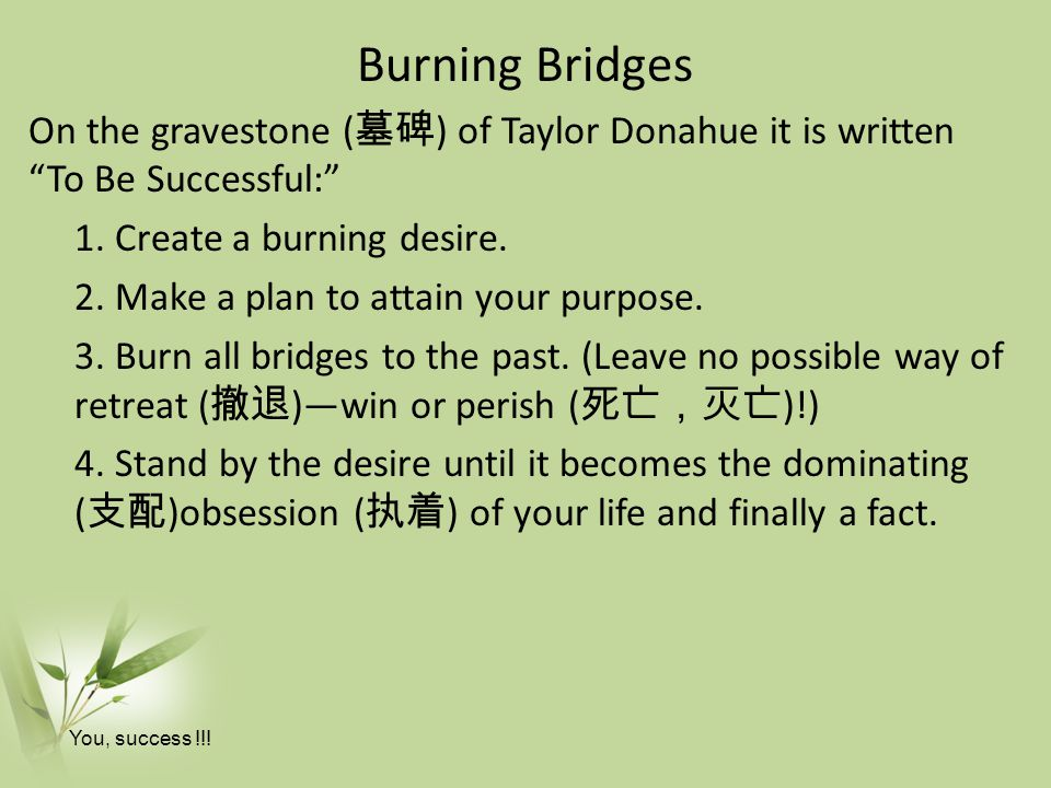 Burning Bridges On the gravestone ( 墓碑 ) of Taylor Donahue it is written To Be Successful: 1.
