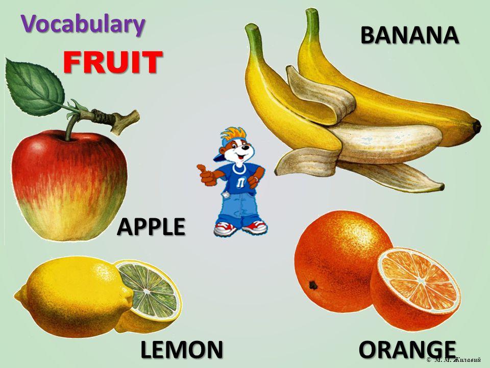 Vocabulary FRUIT APPLE BANANA LEMONORANGE