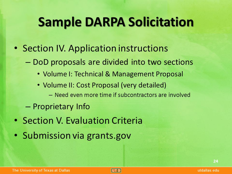The University of Texas at Dallasutdallas.edu Sample DARPA Solicitation Section IV.