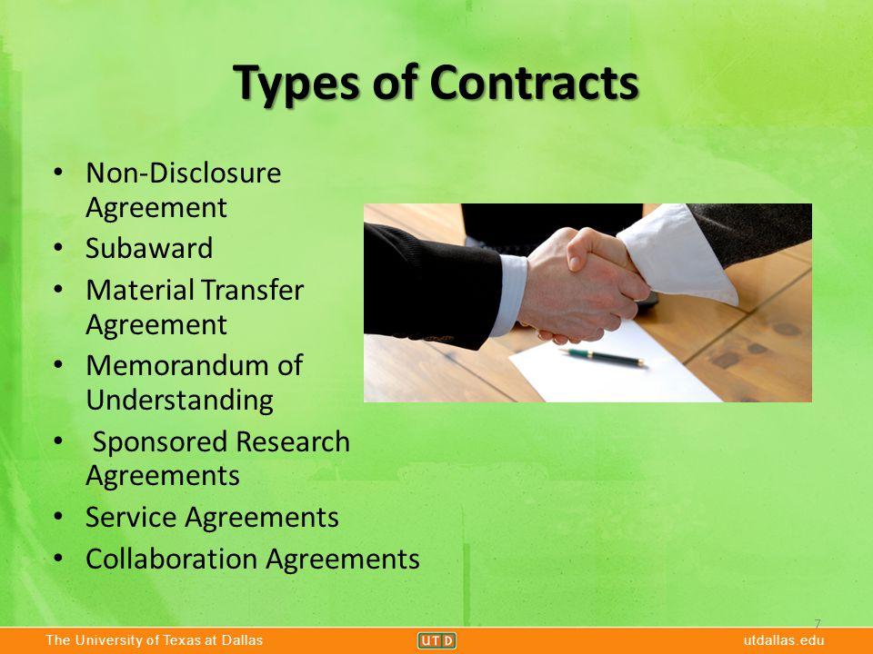 The University of Texas at Dallasutdallas.edu Types of Contracts Non-Disclosure Agreement Subaward Material Transfer Agreement Memorandum of Understan