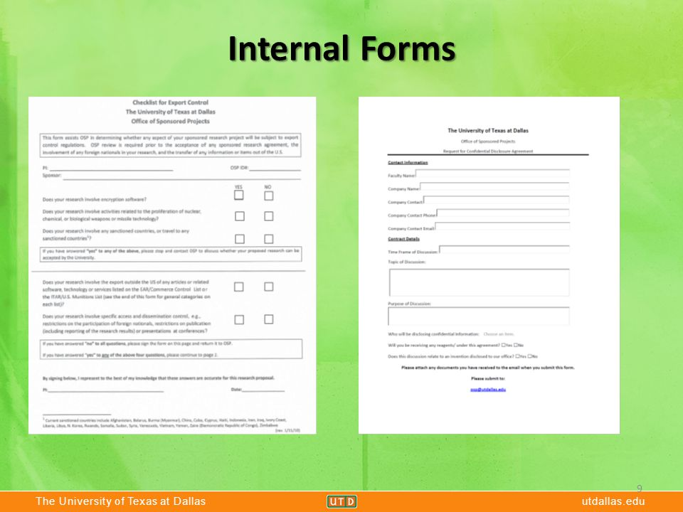 The University of Texas at Dallasutdallas.edu Internal Forms 9