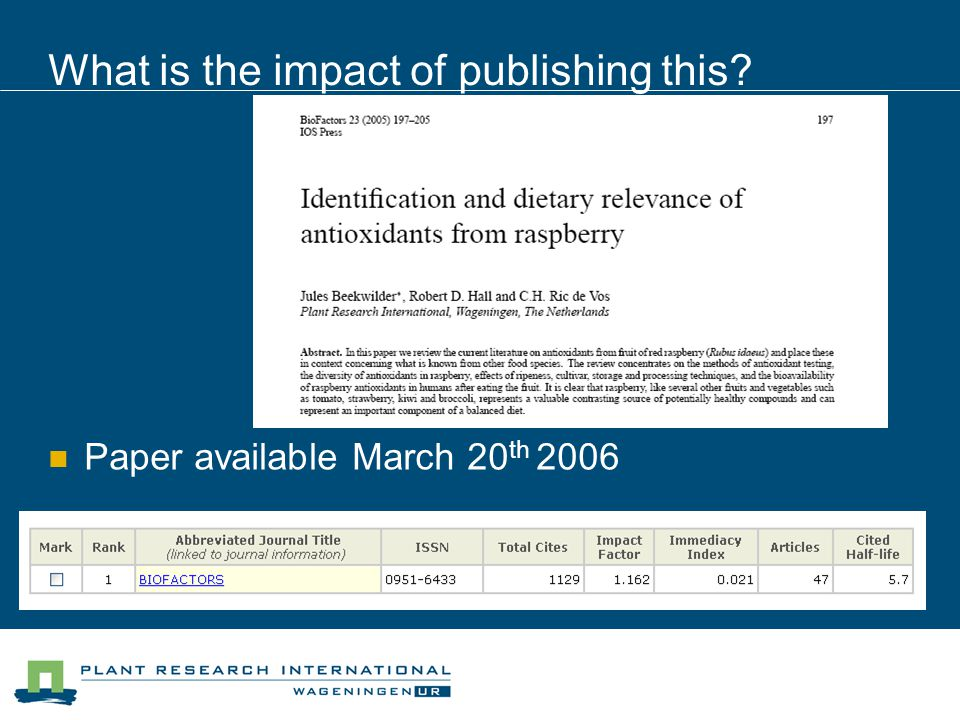 What is the impact of publishing this Paper available March 20 th 2006