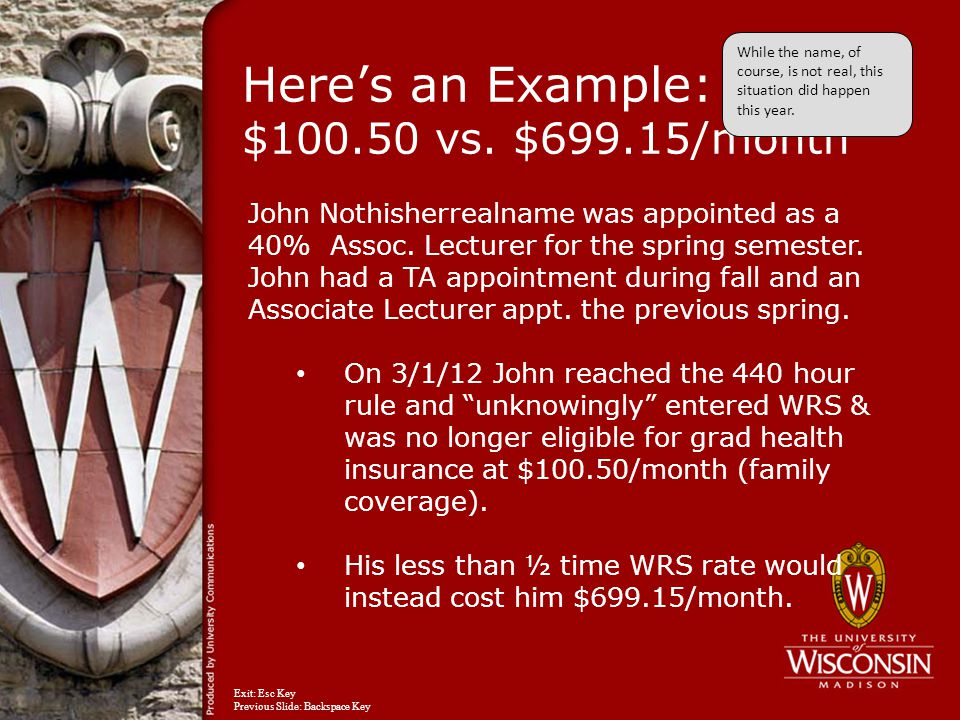 Here's an Example: $100.50 vs. $699.15/month John Nothisherrealname was appointed as a 40% Assoc.