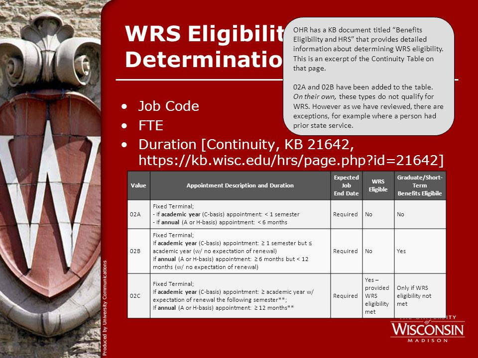 WRS Eligibility Determination Job Code FTE Duration [Continuity, KB 21642, https://kb.wisc.edu/hrs/page.php id=21642] OHR has a KB document titled Benefits Eligibility and HRS that provides detailed information about determining WRS eligibility.