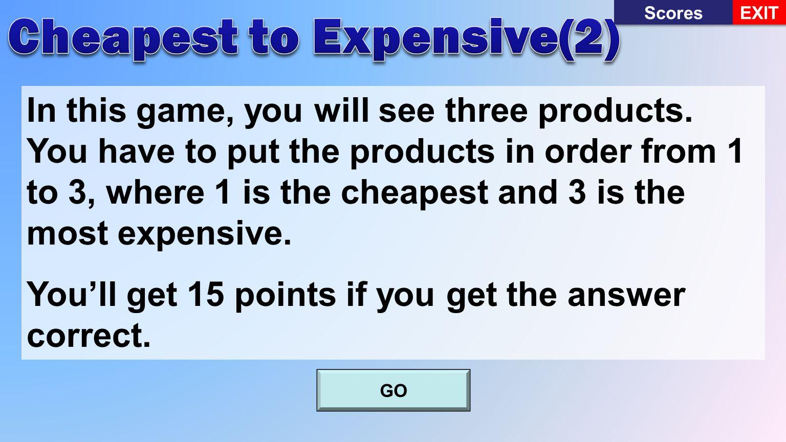 Scores EXIT 1,140,000Won1,098,000Won1,550,000Won You chose 1You chose 2you chose 3 Continue Incorrect 