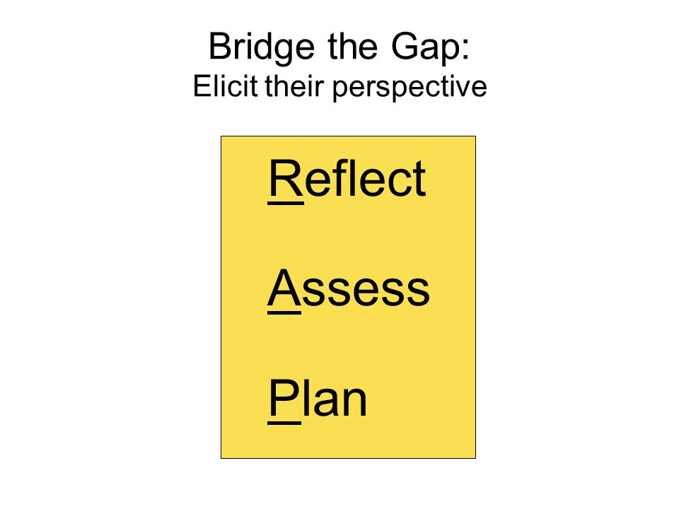 Bridge the Gap: Elicit their perspective Reflect Assess Plan