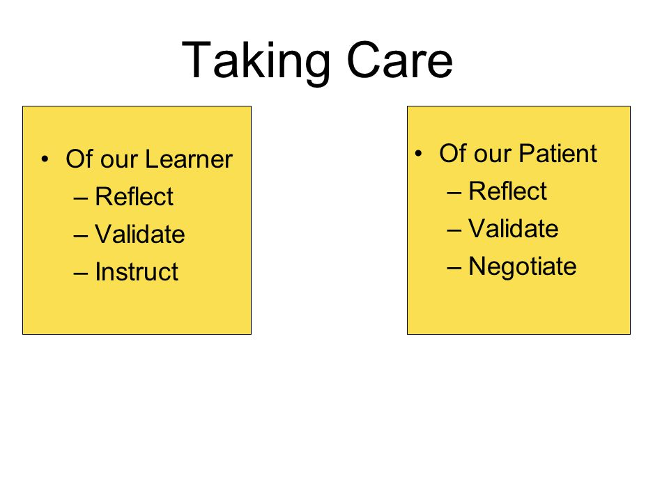 Taking Care Of our Learner –Reflect –Validate –Instruct Of our Patient –Reflect –Validate –Negotiate