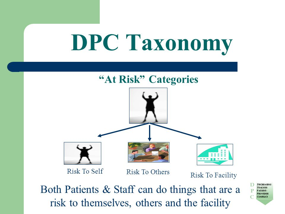 DPC Taxonomy At Risk Categories Risk To Self Risk To Others Risk To Facility Both Patients & Staff can do things that are a risk to themselves, others and the facility