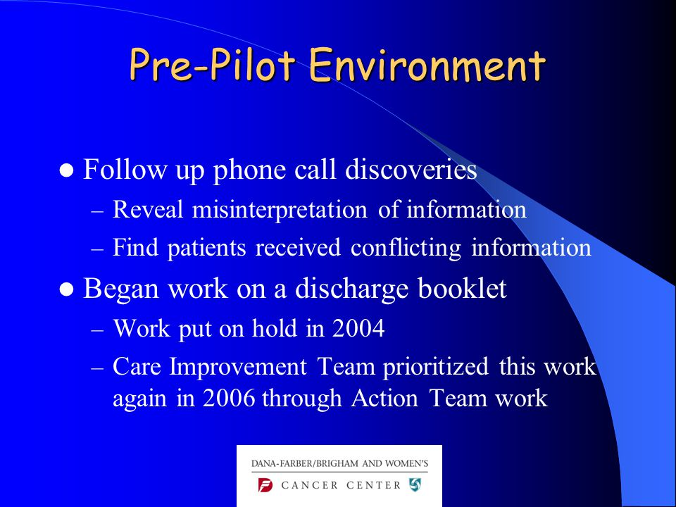 Pre-Pilot Environment Follow up phone call discoveries – Reveal misinterpretation of information – Find patients received conflicting information Began work on a discharge booklet – Work put on hold in 2004 – Care Improvement Team prioritized this work again in 2006 through Action Team work