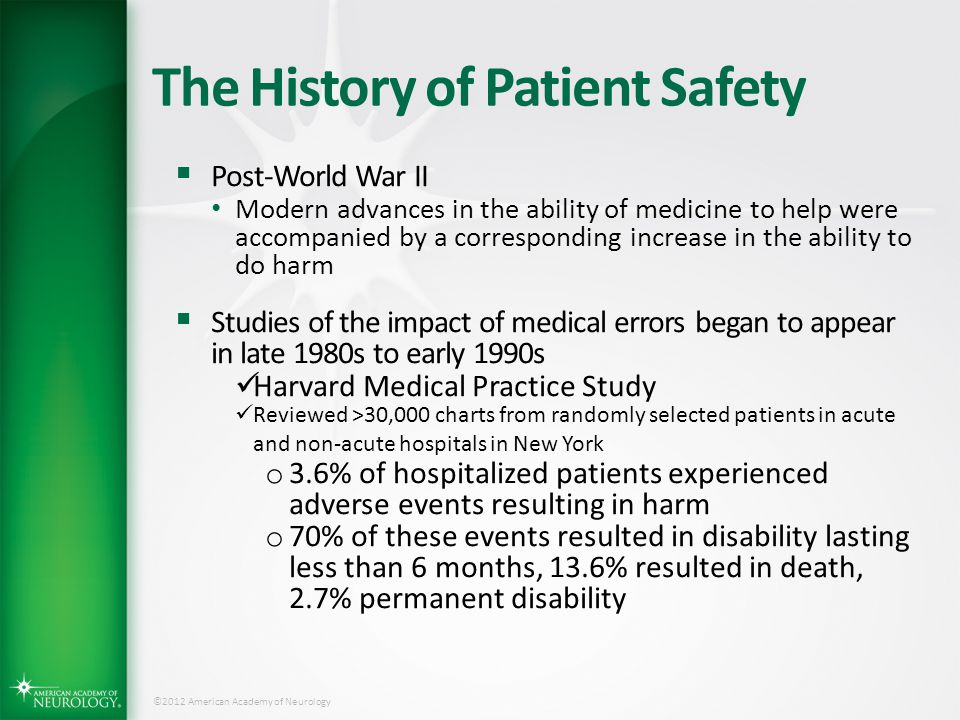 ©2012 American Academy of Neurology The History of Patient Safety  Post-World War II Modern advances in the ability of medicine to help were accompan