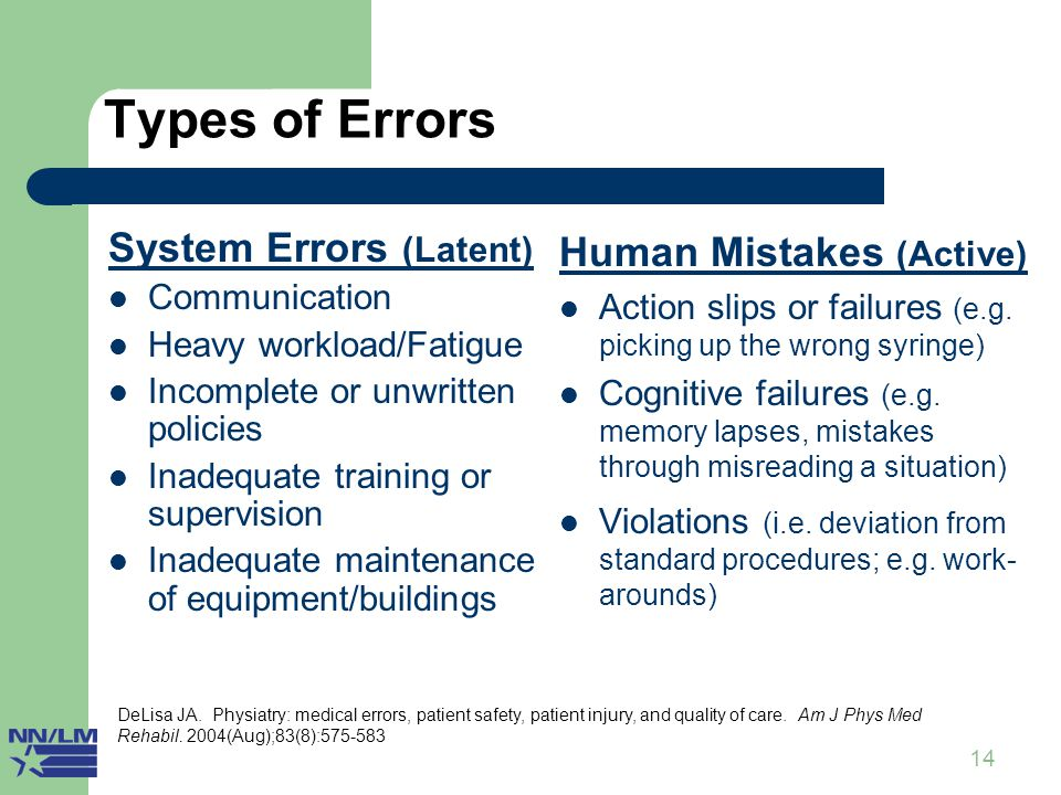 14 Types of Errors System Errors (Latent) Communication Heavy workload/Fatigue Incomplete or unwritten policies Inadequate training or supervision Inadequate maintenance of equipment/buildings Human Mistakes (Active) Action slips or failures (e.g.