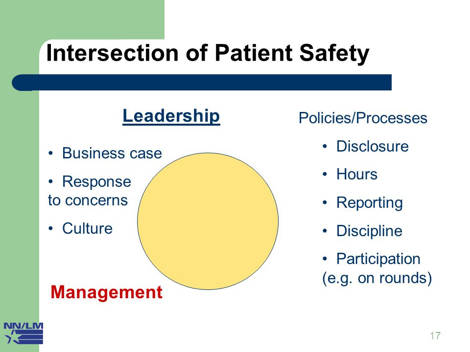 17 Intersection of Patient Safety II Management Leadership Business case Response to concerns Culture Policies/Processes Disclosure Hours Reporting Di