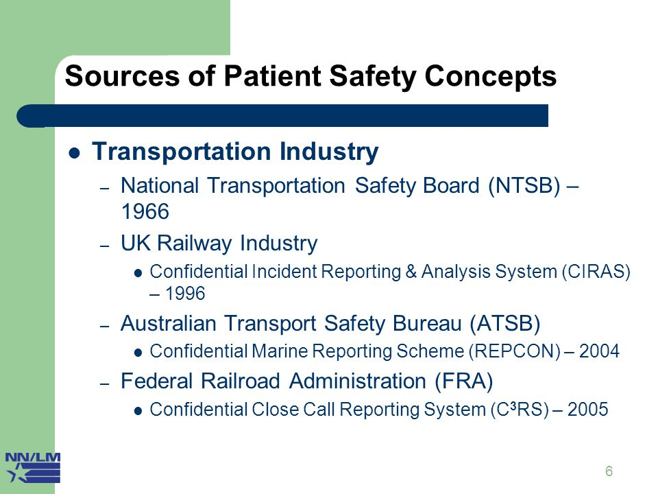 6 Sources of Patient Safety Concepts II Transportation Industry – National Transportation Safety Board (NTSB) – 1966 – UK Railway Industry Confidentia
