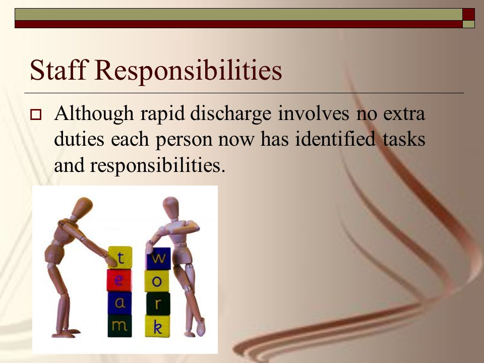Staff Responsibilities  Although rapid discharge involves no extra duties each person now has identified tasks and responsibilities.