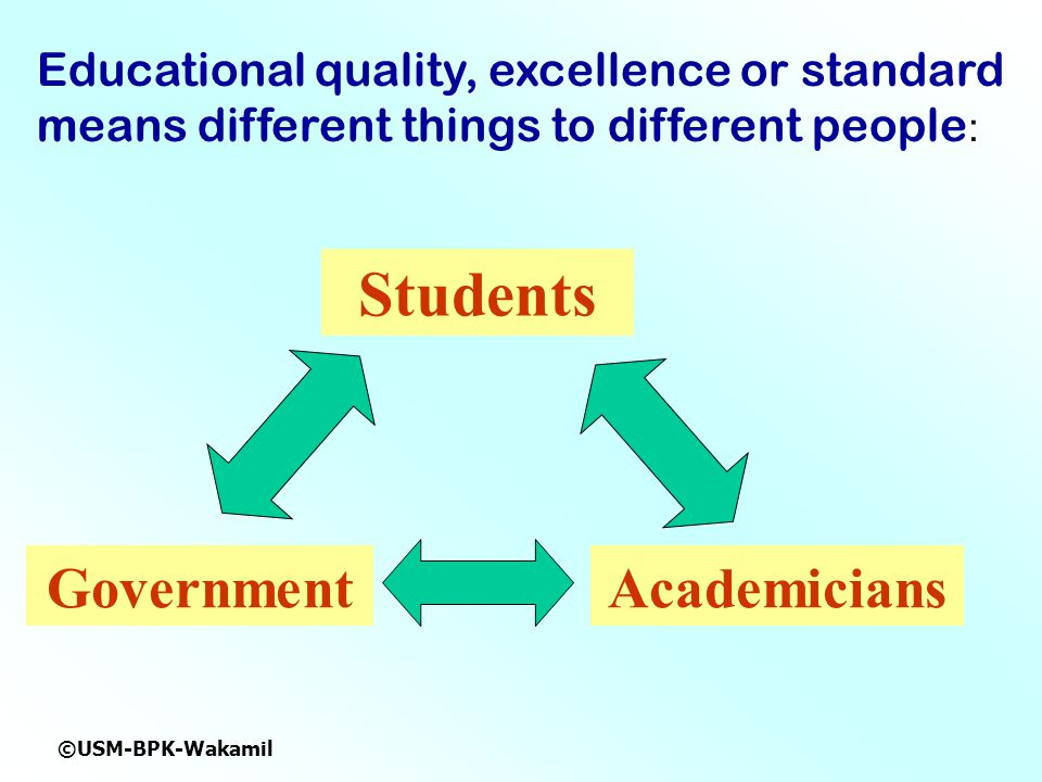 ©USM-BPK-Wakamil Educational quality, excellence or standard means different things to different people : Students AcademiciansGovernment