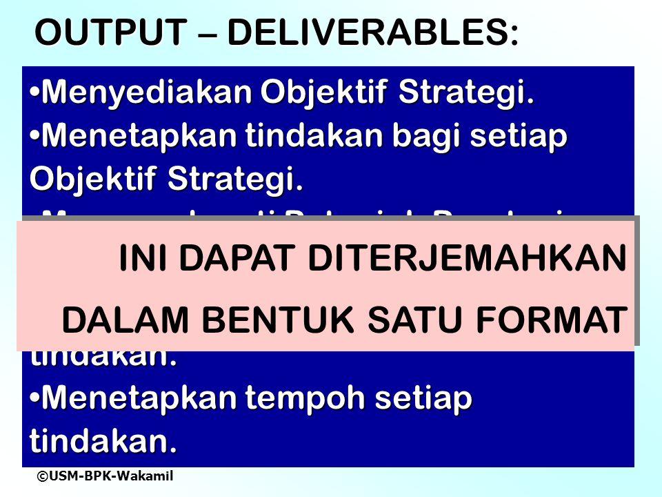 ©USM-BPK-Wakamil OUTPUT – DELIVERABLES: Menyediakan Objektif Strategi.Menyediakan Objektif Strategi.
