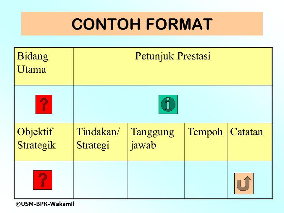 ©USM-BPK-Wakamil CONTOH FORMAT Bidang Utama Petunjuk Prestasi Objektif Strategik Tindakan/ Strategi Tanggung jawab TempohCatatan