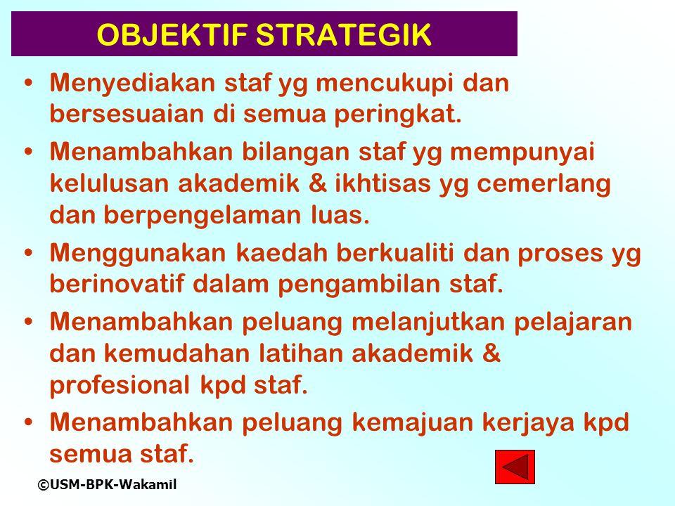 ©USM-BPK-Wakamil OBJEKTIF STRATEGIK Menyediakan staf yg mencukupi dan bersesuaian di semua peringkat.