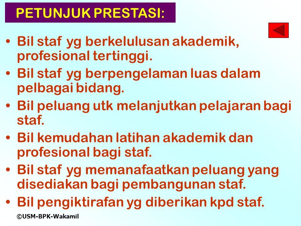©USM-BPK-Wakamil PETUNJUK PRESTASI: Bil staf yg berkelulusan akademik, profesional tertinggi.