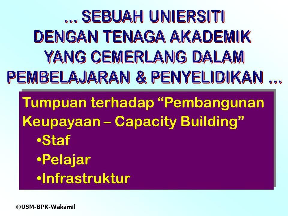 ©USM-BPK-Wakamil Tumpuan terhadap Pembangunan Keupayaan – Capacity Building Staf Pelajar Infrastruktur Tumpuan terhadap Pembangunan Keupayaan – Capacity Building Staf Pelajar Infrastruktur