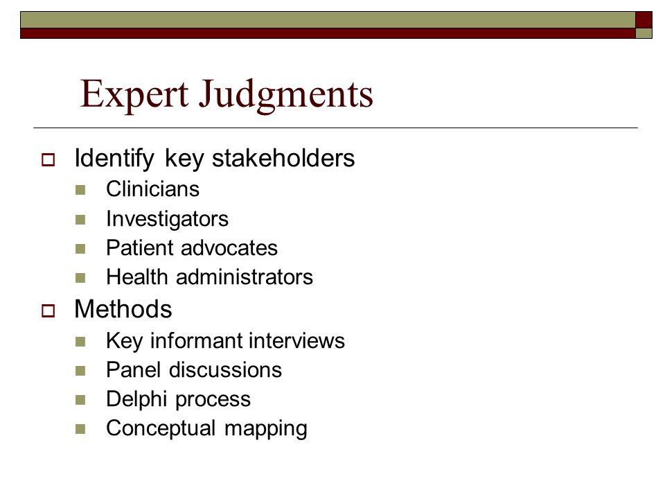 Expert Judgments  Identify key stakeholders Clinicians Investigators Patient advocates Health administrators  Methods Key informant interviews Panel