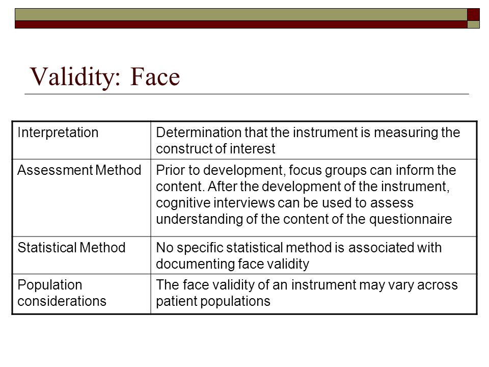 Validity: Face InterpretationDetermination that the instrument is measuring the construct of interest Assessment MethodPrior to development, focus gro
