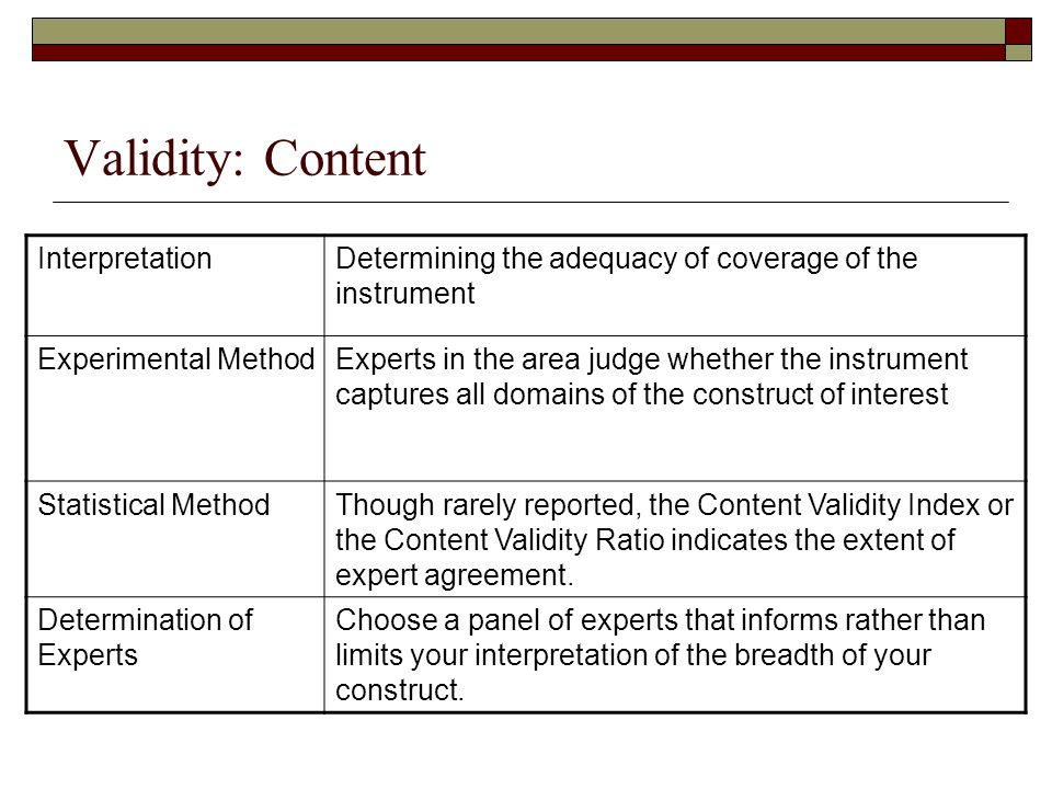 Validity: Content InterpretationDetermining the adequacy of coverage of the instrument Experimental MethodExperts in the area judge whether the instru