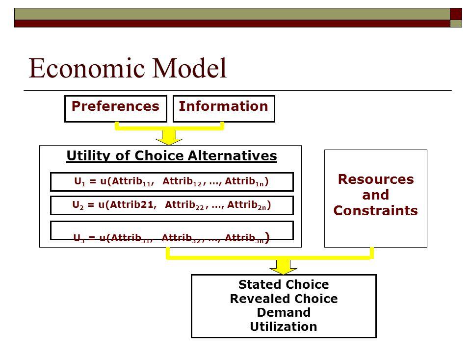 Preferences Stated Choice Revealed Choice Demand Utilization Information Resources and Constraints U 1 = u(Attrib 11, Attrib 12, …, Attrib 1n ) Utilit