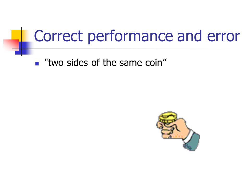 Correct performance and error