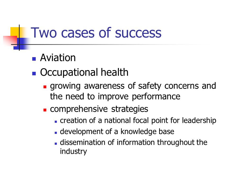 Two cases of success Aviation Occupational health growing awareness of safety concerns and the need to improve performance comprehensive strategies cr