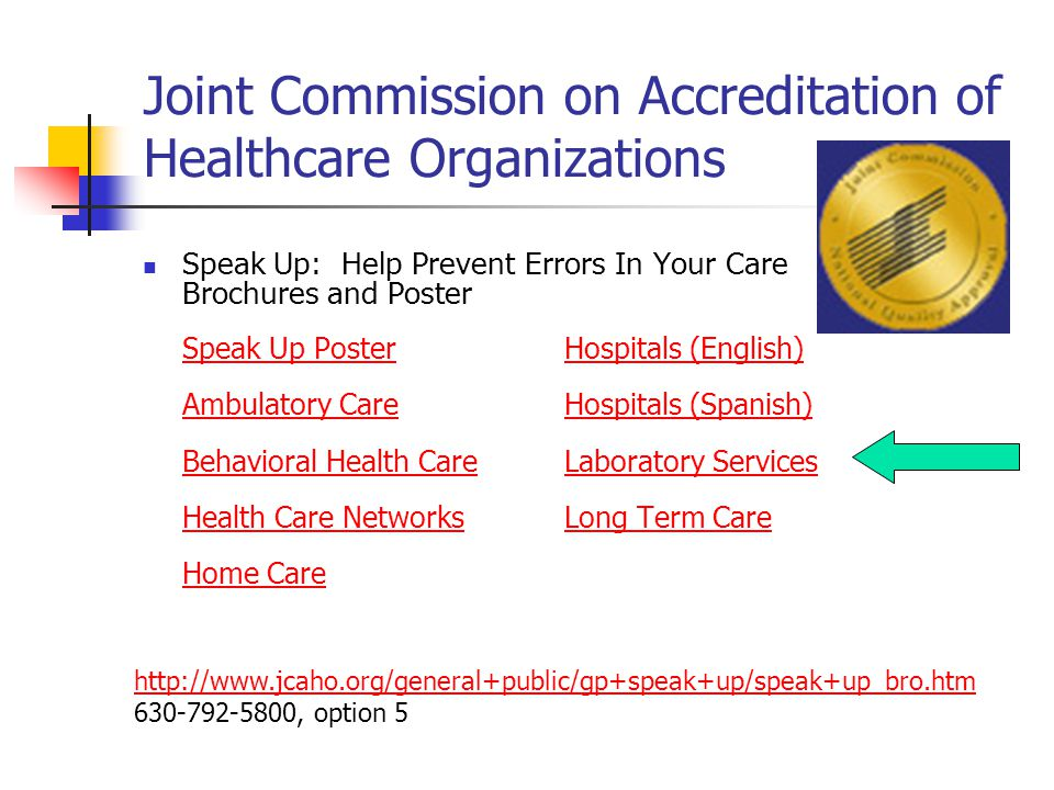Joint Commission on Accreditation of Healthcare Organizations Speak Up: Help Prevent Errors In Your Care Brochures and Poster Speak Up PosterSpeak Up