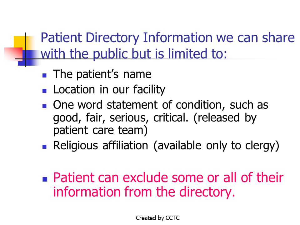 Request to be Excluded from the Patient Directory Patient Label if available or Print Patient Name Patient Account Number SAMPLESAMPLE
