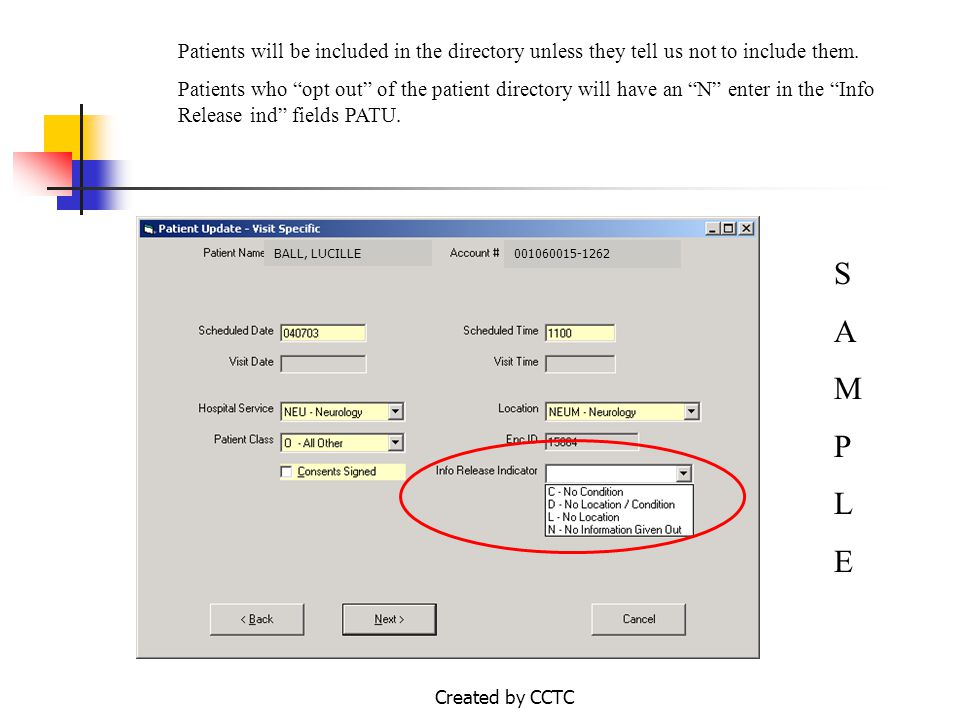 Created by CCTC What Do I Do When Asked for Patient Directory Information.