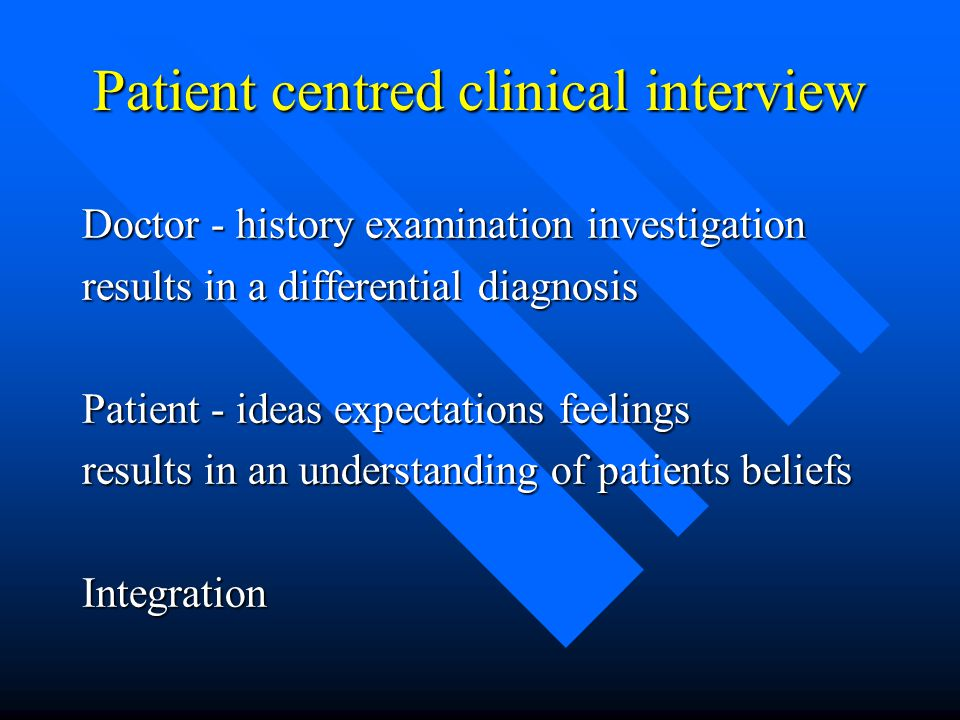 Patient centred clinical interview Doctor - history examination investigation results in a differential diagnosis Patient - ideas expectations feeling