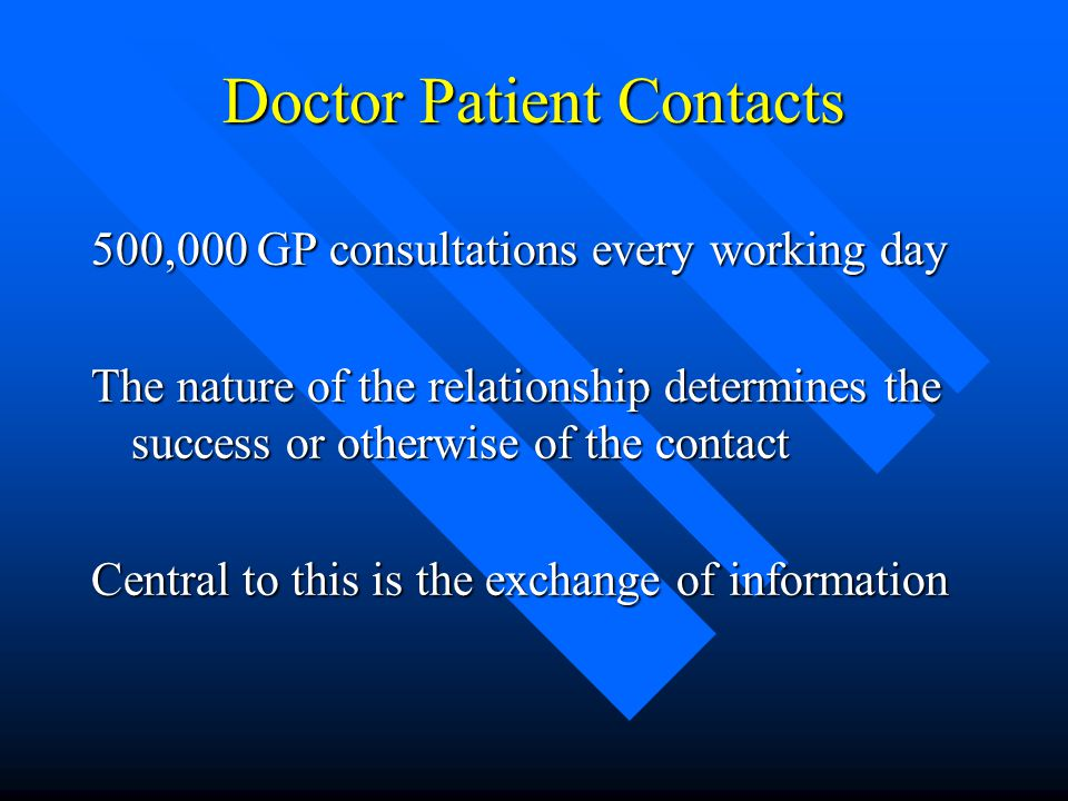 Doctor Patient Contacts 500,000 GP consultations every working day The nature of the relationship determines the success or otherwise of the contact Central to this is the exchange of information