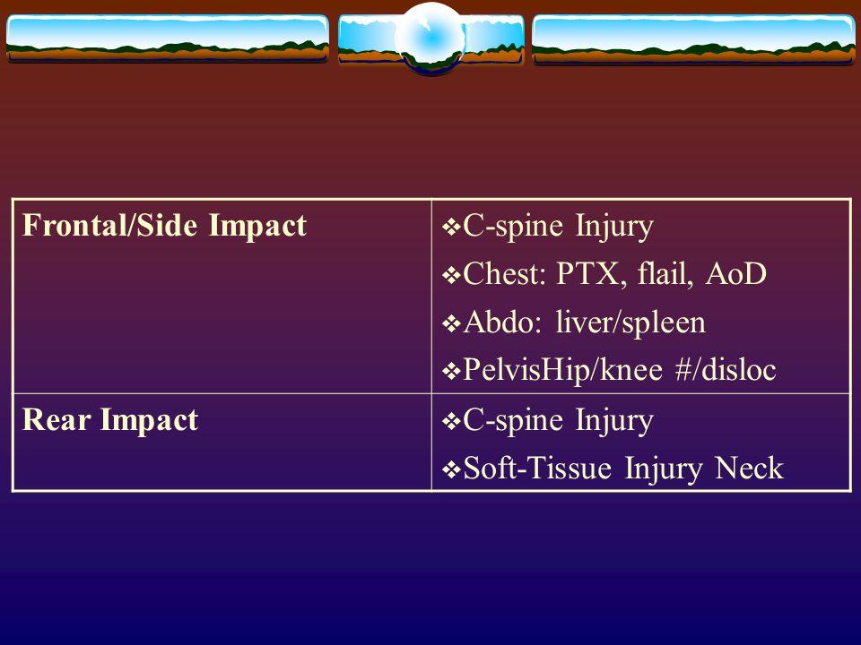 Frontal/Side Impact  C-spine Injury  Chest: PTX, flail, AoD  Abdo: liver/spleen  PelvisHip/knee #/disloc Rear Impact  C-spine Injury  Soft-Tissu