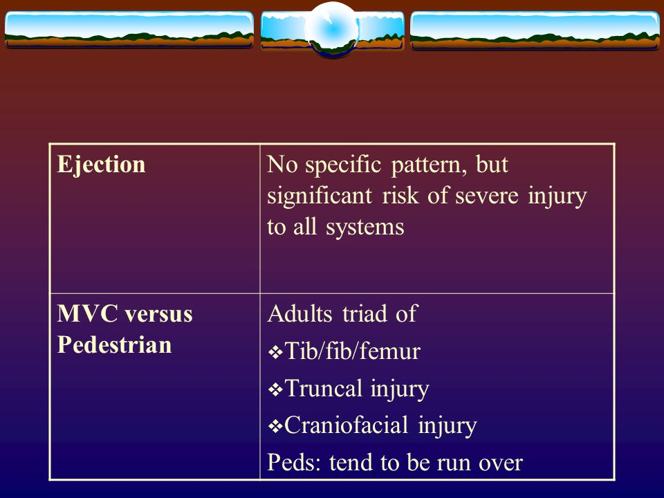 EjectionNo specific pattern, but significant risk of severe injury to all systems MVC versus Pedestrian Adults triad of  Tib/fib/femur  Truncal inju