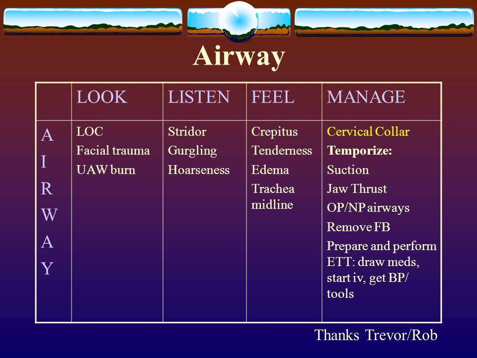 Airway LOOKLISTENFEELMANAGE AIRWAYAIRWAY LOC Facial trauma UAW burn Stridor Gurgling Hoarseness Crepitus Tenderness Edema Trachea midline Cervical Col