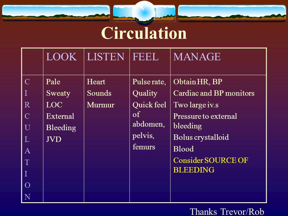 Circulation LOOKLISTENFEELMANAGE CIRCULATIONCIRCULATION Pale Sweaty LOC External Bleeding JVD Heart Sounds Murmur Pulse rate, Quality Quick feel of ab