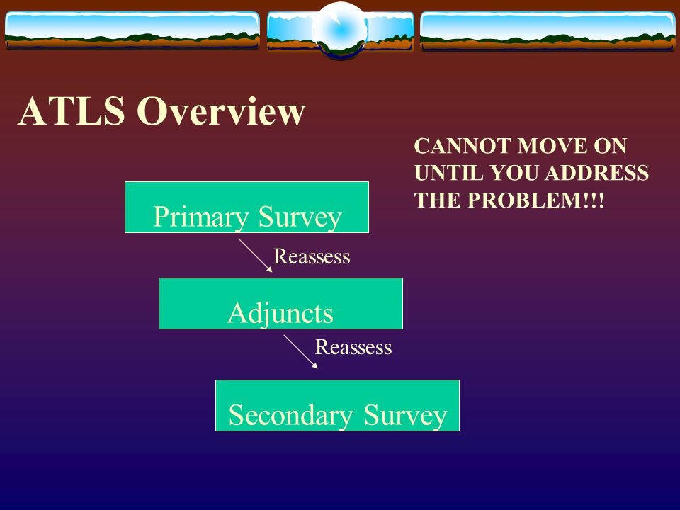 ATLS Overview Primary Survey Adjuncts Secondary Survey Reassess CANNOT MOVE ON UNTIL YOU ADDRESS THE PROBLEM!!!