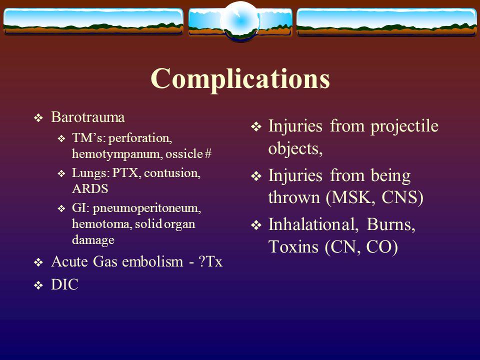Complications  Barotrauma  TM's: perforation, hemotympanum, ossicle #  Lungs: PTX, contusion, ARDS  GI: pneumoperitoneum, hemotoma, solid organ da